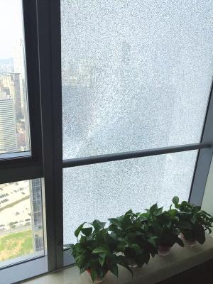图为整块爆裂的玻璃窗。