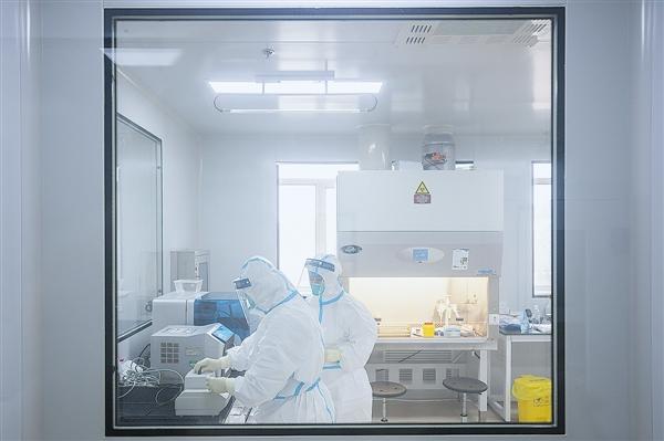 市疾病预防控制中心检测人员在加强P2实验室进行标本检测。